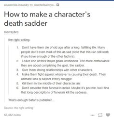 Pining this here so I don't forget how to make these numerous character's deaths even sadder . . .