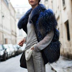 Fur luxe street style