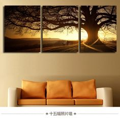 3 Panel Modern Printed Tree Painting Picture Cuadros Sunset Canvas Painting Wall Art Home Decor For Living Room No Frame-in Painting & Calligraphy from Home & Garden on Aliexpress.com   Alibaba Group