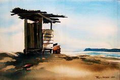 letrina frente al mar watercolor by fabio herrera