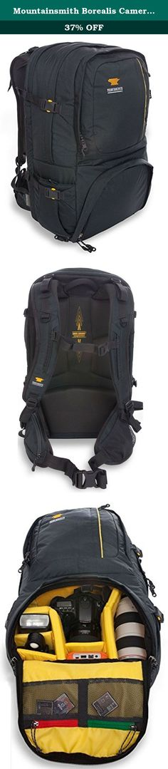 Mountainsmith Borealis Camera Pack. The outdoors can be hard on your camera gear. The Borealis is the DSLR camera backpack built with backcountry features for the ruggedness of your outdoor photo adventures. Made with separate camera and laptop compartments along with extra storage space for your 10 essentials, and a waterproof rain cover to protect it all. If in search of that perfect backcountry shot, this pack will get you, your camera and other gear there safely and comfortably and dry.