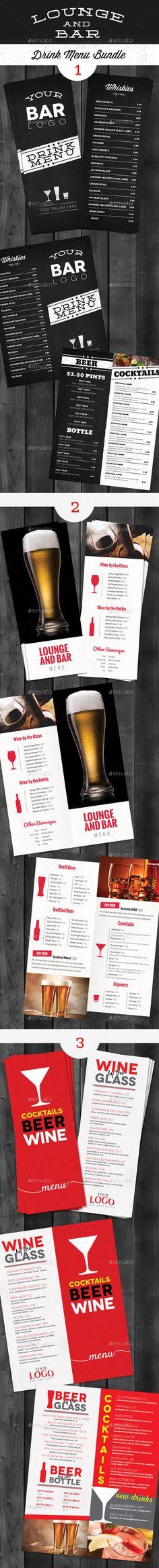 Lounge Bar Drink Menu Bundle  - #Food #Menus Print Templates Download here:  https://graphicriver.net/item/lounge-bar-drink-menu-bundle-/9742587?ref=alena994