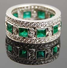 Antique & Signed wedding band of emerald and diamond - Yafa Jewelry <3