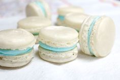 Crispy, sweet almond macarons sandwiched together with vanilla buttercream in the middle.