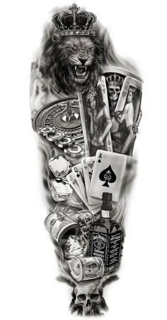 half sleeve tattoo designs and meanings half sleeve tattoo designs and meanings Full sleeve custom design tattoo lion / gambling / playing cards jack daniels wh… - Full Sleeve Tattoo Design, Half Sleeve Tattoos Designs, Full Sleeve Tattoos, Tattoo Designs And Meanings, Full Tattoo, Tattoo Ink, Tattoo Card, Tattoo Drawings, Joker Card Tattoo
