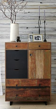 Atwood Tall Chest or just hack ikea drawers w old cedar planks.
