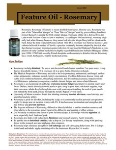 Great info on Rosemary oil .... not a source from Ameo, but good info nonetheless!  Remember not all oils, even by name, are created equal. Do your research. There is a lot of good information on how to know what is clinical grade and what is not.  Be informed.