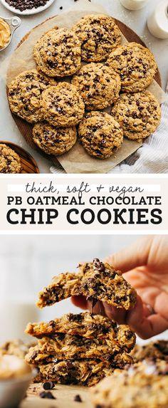 Peanut Butter Roll, Peanut Butter Oatmeal, Vegan Peanut Butter, Butter Chocolate Chip Cookies, Oatmeal Chocolate Chip Cookies, Easy Cookie Recipes, Sweet Recipes, Dessert Recipes, Baking Recipes