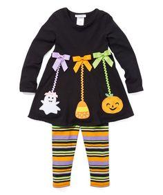 Gerson & Gerson Black Ghost Ornament Tunic & Leggings - Infant, Toddler & Girls | zulily Little Girl Leggings, Toddler Leggings, Girls In Leggings, Grey Leggings Outfit, Tunic Leggings, Toddler Outfits, Girl Outfits, Sonus Festival, Cool Kids Clothes