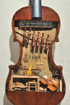 "catsandthelaw: ""  18th Century Miniature Luthier's Workshop in the body of a violin. Photo by Balfour Walker. Mini-Time Machine Museum of Miniatures in Tucson, AZ Note - All the miniature instruments..."