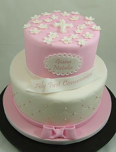 First Communion Cake for Girl #FirstCommunionCake, #HolyCommunionCake, #PinkCommunionCake