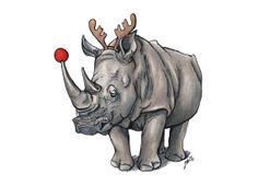 Holiday Greeting Card: Rudolph Rhino