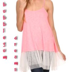 """SPAGHETTI STRAP TUNIC WITH TULLE DETAIL Cute as can be tunic length cami with pleated tulle hem! Adjustable spaghetti straps, round neck. In Bright Pink. 95% viscose/5%spandex.           ♦️S: bust 36"""" hips 54"""" length 33.5""""""""                       ♦️M: bust 38"""" hips 56"""" length 35.5""""                           ♦️L: bust 42"""" hips 50"""" length 37""""                            ♦️XL: bust 45"""" hips 58"""" length 37.5""""                           ♦️XXL: bust 48"""" hips 67"""" length 38""""                ♦️XXXL: bust…"""