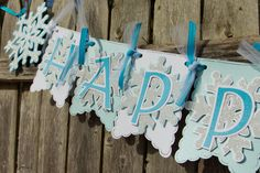 "Snowflake Birthday Banner perfect for a ""Frozen"" party!! by 4HeartsPaperCraftCo #birthdaybanners #snowflakebanner #frozen"
