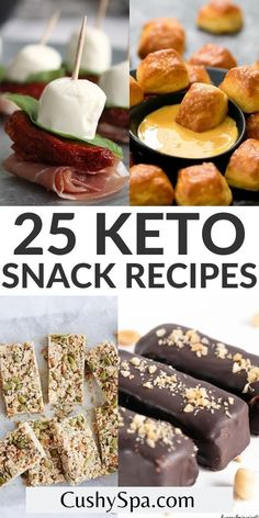 Staying in ketosis throughout your day can be much easier when you have these delicious keto snack recipes ready to eat. Make these ketogenic snacks to help you lose more weight on your keto meal plan. #Keto #Snacks Ketogenic Recipes, Low Carb Recipes, Keto Snacks, Snack Recipes, Toasted Coconut Chips, Antipasto Skewers, Zucchini Pizza Bites, Chocolate Crunch, Peanut Butter Bars