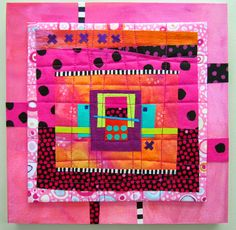 """Pinkitude Hand Dyed and hand painted cottons, commercial prints, fused, machine quilted and mounted on painted watercolor paper (acrylic paint) on cradled wood panel with fabric accents. 10x10x1"""""""