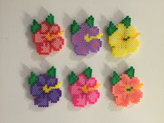 Perler, Magnet, Perler beads, Perler magnet, Flower, Flower magnet, Hibiscus flower, Pixel art, Magnets, Beads, Hama by AmeliasWreathsofJoy on Etsy