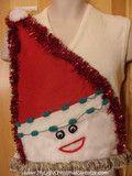 Ivory Mens Wacky Santa Ugly Christmas Sweater Vest with Fringe - Ugly Christmas sweater vest with Wacky Santa pa...