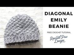 Make this simple Emily Diagonal Beanie Crochet Pattern! Use our crochet pattern to make a FREE crochet beanie hat! This can be used as a womens or mens beanie hat. Learn how to crochet a beanie today!