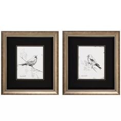 Pair of framed prints featuring avian motifs. Made in the USA. Product: 2 Piece framed art set Construction Material: Glass Finish: Silver, white and black Features: Double matted glassMade in the USA Dimensions: H x W each Painting Frames, Painting Prints, Wall Art Prints, Framed Prints, Wall Paintings, Framed Art Sets, Wall Art Sets, Bird Wall Art, Metal Wall Art