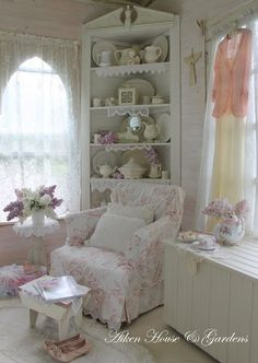 Shabby Chic Decorating: love this window!!! Pinned to see how the designer added just a touch of color to the white on white.    followpics.co