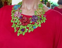 Crystal Necklace and Earrings Multi-Colored Roses HUGE Handmade #Unbranded