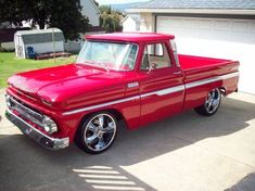 1965 bright RED Chevy Custom Pickup
