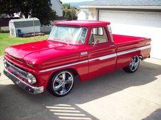 1965 bright RED Chevy Custom Pickup
