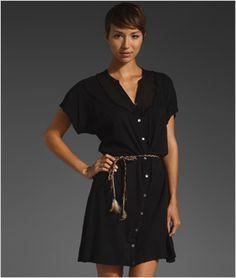 We love the effortless elegance of this black cotton shirt dress