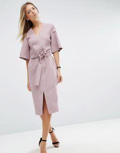 ASOS | Однотонное платье с запахом и V-образным вырезом ASOS