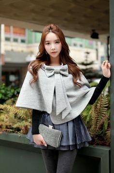 Morpheus Boutique  - Gray Bow Ms Blouse Cloak Short Coat, $149.99 (http://www.morpheusboutique.com/new-arrivals/gray-bow-ms-blouse-cloak-short-coat/)