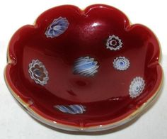 Dramatic BLOOD Red GENUINE MURANO Millefiori GLASS BOWL Vintage OPALINE Seaforms