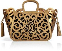 Ralph Lauren Collection Leather Scroll Tote - Lyst