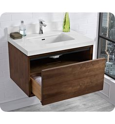 fairmont designs 1505 wv30 m4 30 wall mount vanity in natural walnut - Wall Mounted Bathroom Vanity