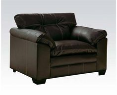 Hayley Onyx Bonded Leather Wood Pillow Top Arms Chair