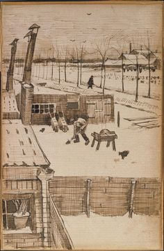 Vincent Van Gogh, Sketch of fishing boats on the beach & rooftops. To Theo from The Hague, July 1882