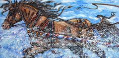 """""""A Trip Down Memory Lane"""" A childhood memory of a one horse sleigh ride inspired this 24""""x 48""""x 1.5"""" textured acrylic gallery wrap. At Kasum Contemporary Fine Art in OKC- $1500.00"""