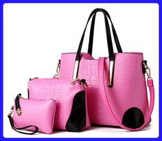 Katoony Womens 3PCS Office Lady PU Leather Crocodile Grain Handbag and Purse Sets Shoulder Crossbody Bag - Shoulder bags (*Amazon Partner-Link)