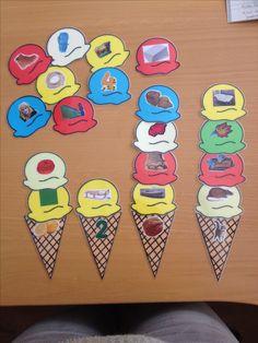 Taal en lezen Rijmen met ijsjes. Zoek de juiste bolletjes bij de hoorntjes.