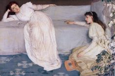 """"""" Symphony in White, No.III James Abbott McNeill Whistler (American, Oil on canvas. The Barber Institute of Fine Arts. Whistler chose the term 'Symphony' to emphasise to visitors to the Royal Academy's exhibition. James Abbott Mcneill Whistler, Francisco Goya, Johannes Vermeer, Saatchi Gallery, Aesthetic Movement, Aesthetic Art, Art Abstrait, Art Moderne, Art Uk"""