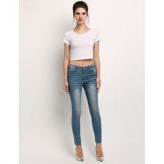 De Las Mujeres Forman Los Pantalones De Cintura Alta Del Dril De Algodón Suave Y…