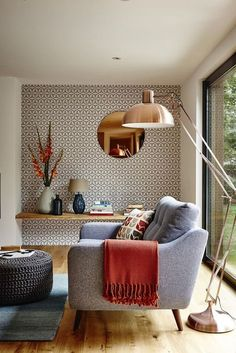 eye-catching geometric pattern living room wall