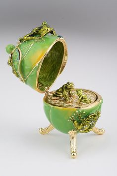 Frogs Faberge Easter Egg with a Frog Pendant by KerenKopal on Etsy