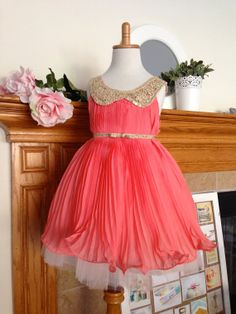 Coral Flower Girl Dress , Special Occasion Dress / GOLD Peter Pan Collar and Belt