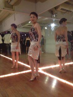 I made tango costume for tango dancer Mis.Takami. White fringe skirt & shoes print tops.