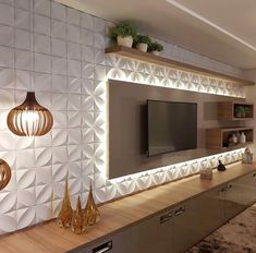 Quirky Home Decor tv wall decor ideas for an efficient and effective tv wall installation process! Wall Panel Design, Tv Wall Design, 3d Wall Panels, Design Case, Wall Texture Design, Home Interior, Living Room Interior, Living Room Decor, Interior Design