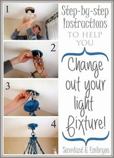 Install a new light fixure... EASY! Home Renovation, Home Remodeling, Remodeling Companies, Bedroom Remodeling, Kitchen Remodeling, Do It Yourself Furniture, Do It Yourself Home, Diy Furniture, Home Improvement Projects