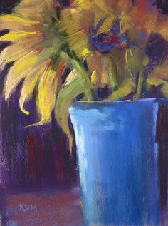 SUNFLOWERS Floral Original Pastel Painting by Karen Margulis