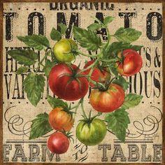 Burlap Farm Tomatoes by Geoff Allen Vintage Tin Signs, Vintage Labels, Vintage Ads, Vintage Images, Vintage Posters, Decoupage Vintage, Decoupage Paper, Botanical Illustration, Plant Illustration