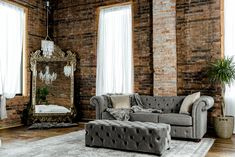 Inside the Studio Class meets style with old world sophistication Dream Studio, Loft Style, Exposed Brick, Site Design, Wingback Chair, Brick Wall, Boudoir Photography, Old World, Accent Chairs